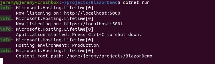 Blazor in Linux
