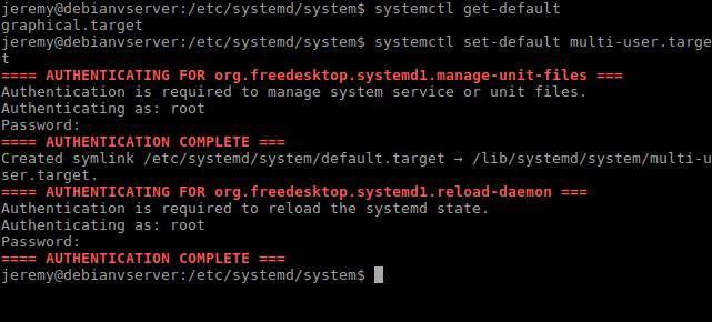 Default Runlevel Target for Debian